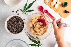 Hand stirring cookie dough with chocolate chips and marijuana leaves around bowl