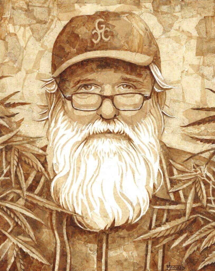 """The Farmer"" mosaic art piece by Chronic Art, Cliff Maynard. Older man with glasses, hat and white beard with marijuana plants around him."