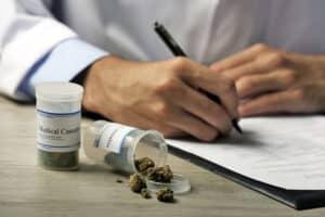 Doctor writing prescription for medical marijuana