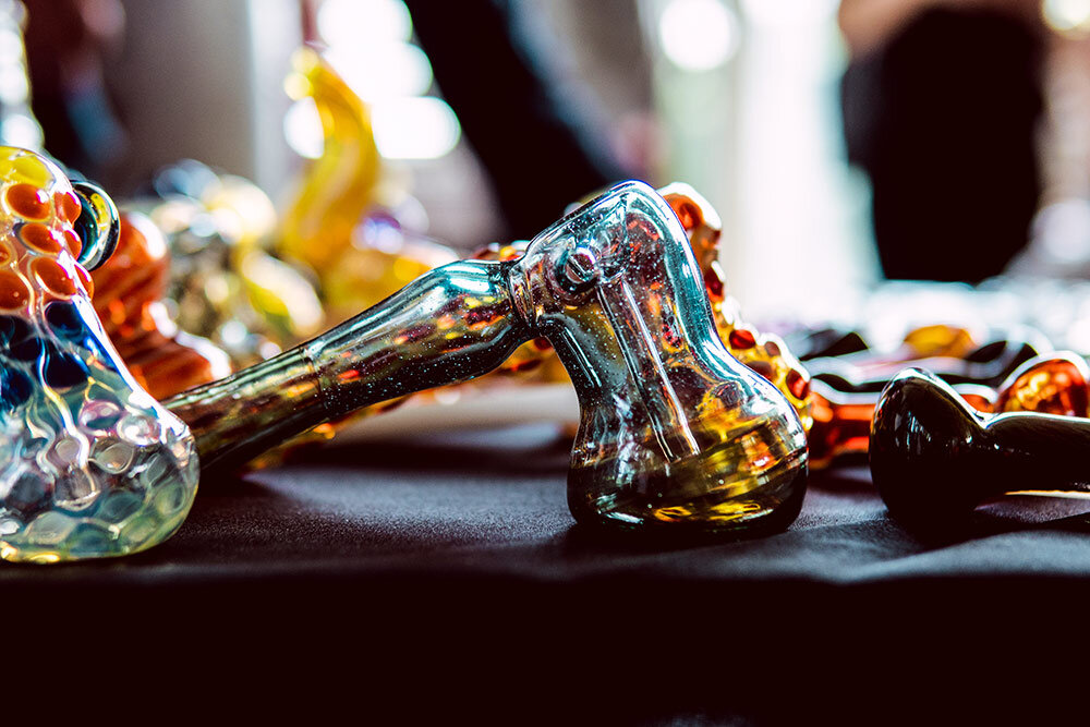 Multiple marijuana glass pipes in weed shop