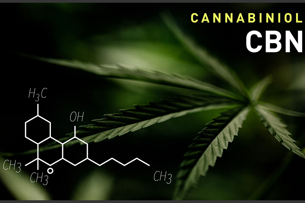 CBN cannabiniol chemical compound on top of marijuana leaf background